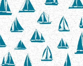 SUPER CLEARANCE!! One Yard By The Sea -  Sail Away Sand in Turquoise Blue and White - Cotton Quilt Fabric - Benartex Fabrics (W1612)
