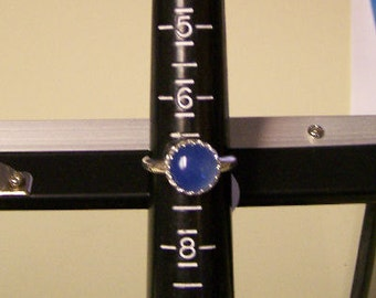 Ready to Ship Sterling Silver Gallery Bezel Blue Chalcedony Ring