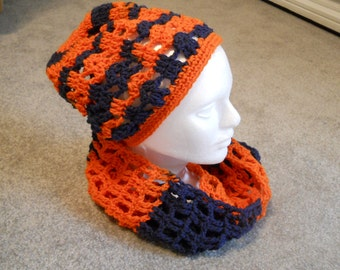 Crocheted Team Colors Orange/Navy Blue or Purple/Gold Teen/Woman's Infinity or Open End Scarf for Team Sport/University/School/Club/Etc.