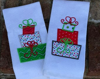 Christmas packages kitchen towel, embroidered, gifts kitchen towel