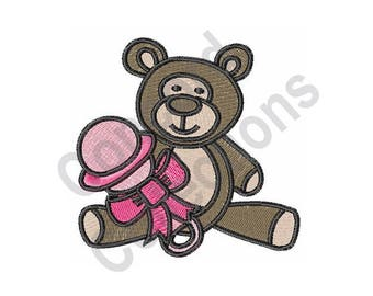 Teddy Bear With Rattle - Machine Embroidery Design, Teddy Bear, Rattle