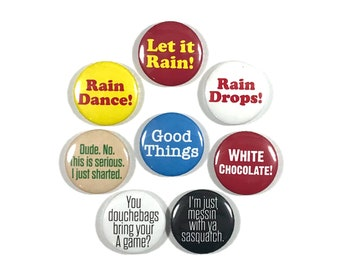 Along Came Polly Movie Quotes Ben Stiller Jennifer Aniston 8 - 1 or 1.25 Inch Pinback Button Pin Badge Set