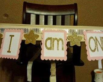 I am ONE Pink and Gold Highchair Banner
