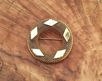 Vintage Kramer Circular Textured Gold Tone Brooch, Signed by Kramer