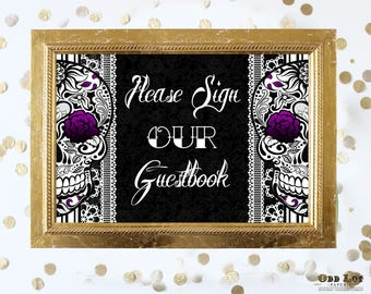 Printable Guest Book Gothic Sugar Skull with Purple Carnations Black and White Lace Gothic Wedding Offbeat Wedding Guestbook Sign Printable
