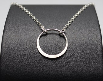 Hammered Circle Necklace, Layer Necklace Sterling Silver Karma Necklace, Sisters Necklace, Halo Necklace, Cocktail Jewelry