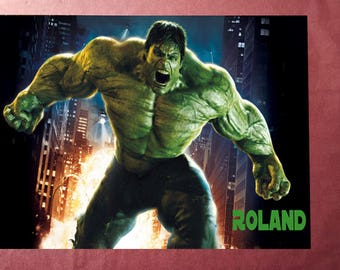 """Hulk"" photo personalized with name on plate PVC"