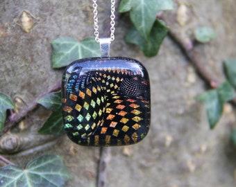 Orange gold dichroic glass pendant, dichroic glass necklace, fused glass,  fused glass pendant, dichroic necklace , checked dichroic,