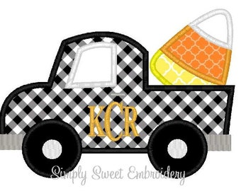 Halloween Truck Candy Corn Applique