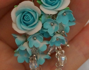 Long earrings, Blue earrings, Flower earrings, Polymer clay earrings, Roses earrings, Floral jewelry, Blue roses earrings