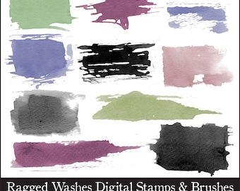 Photoshop Wash Brushes /Stamps and Clipart. Digital Stamps. Digital Brushes. Png Files. Digital Clipart.