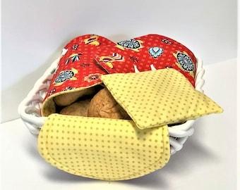 Bread Basket Liner & Warmer, Eco-Friendly, Reversible Bread Cloth, Bread Warmer Set, Organic Wheat Berries
