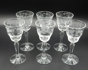 Set Etched Cordial Glasses