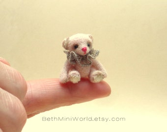 Dollhouse Soft Toy Miniature- 1:12 scale- Micro Jointed Antique Style Teddy Bear- Needle felted- OOAK-Ready to Ship