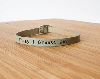 Today I Choose Joy Custom Skinny Adjustable Leather Bracelet Turquoise