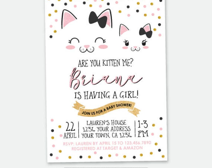 Kitty Baby Shower invitation, Kitty Cat Shower, Cat Invitation, Girls Baby Shower, Personalized Digital Invitation