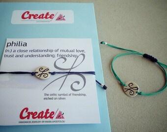 Celtic Friendship Symbol Adjustable Bracelet - Sterling Silver Friendship Bracelet - BFF Best Friend Gift