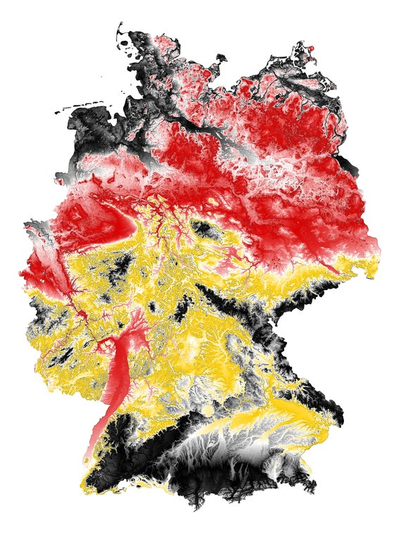 description topographic map of germany