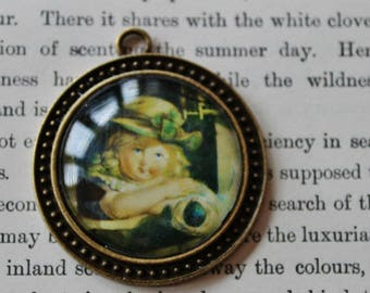 Vintage Girl Picture Pendant