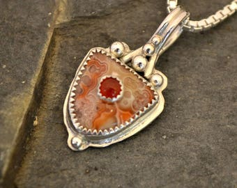 Crazy lace agate and Carnelian pendant.  Sterling silver art pendant.   Stone on Stone pendant.