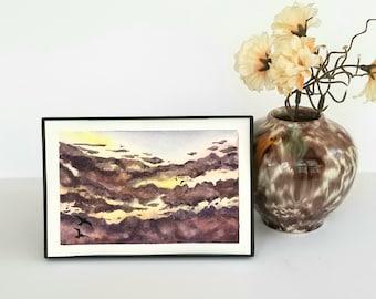"Dark Clouds, original watercolor painting, 4""x6"" cloud and sunset sky art"