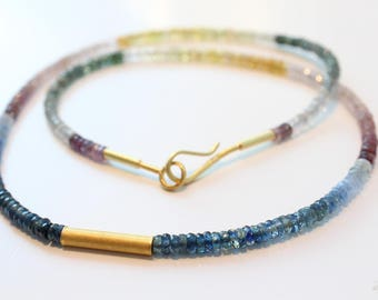 Necklace with colorful sapphires and 900ER gold