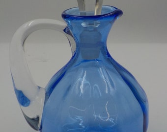Blue Glass Cruet with Crystal Stopper - Bath Oil Bottle - Chic and Elegant