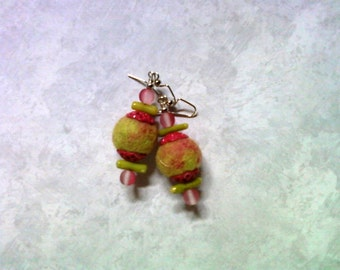 Pink and Chartreuse Felt Earrings (2035)