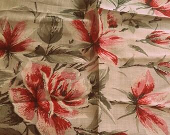 Vintage 1960's Burmel Pink Rose Flower Hankie Handkerchief