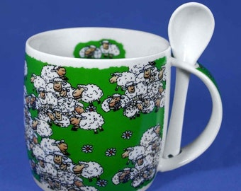 Porcelain cup, coffee pot, cup with spoon-Lüneburg sheep *