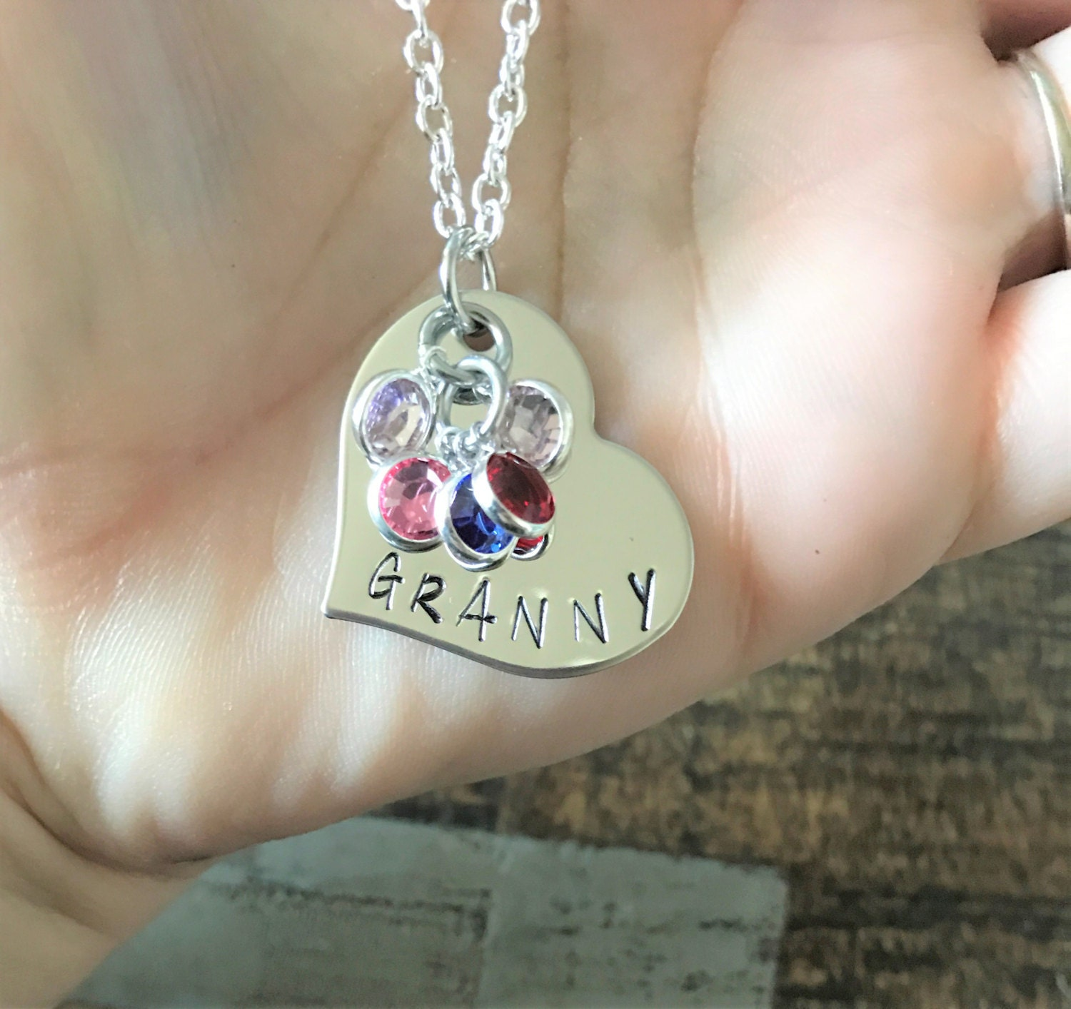 dangles that from on s this birthstones personalize a birthstone each pin bird with grandkid necklace branch