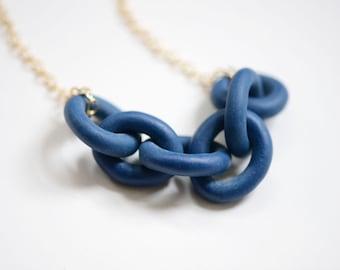 Navy Porcelain Harbor Necklace - Dock Chains - Harbor Jewelry - Porcelain Jewelry - Chain Necklace -  deep blue navy minimalist