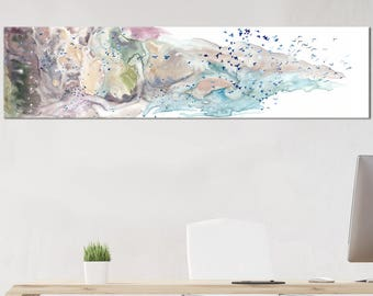 Painting canvas art - Neutral color - canvas art - bird art- rolled canvas- 12x48 inches