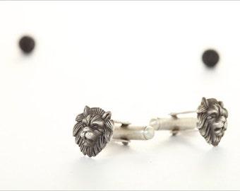 Lion Cufflinks,Silver Lion Cufflinks,Sterling Silver Cufflinks,Animal Cufflinks,Unique Cufflinks,Handmade,Wildlife Cufflinks,Lion Jewelry
