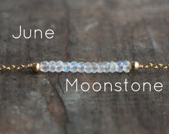 Moonstone Necklace, Gemstone Necklace, Gift for Wife, Gift for Mom, Rainbow Moonstone Jewelry, June Birthstone, Gemstone Jewelry, Dainty