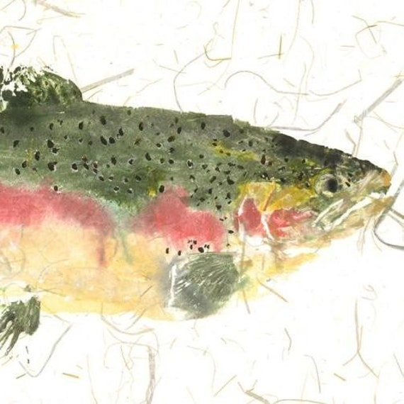 Rainbow Trout Gyotaku Fish Rubbing Limited Edition Print