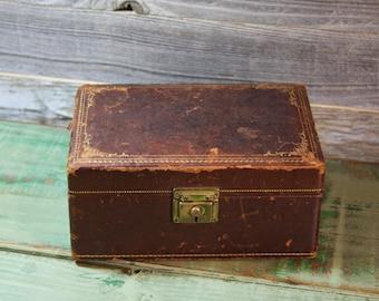 Vintage Leather JEWELRY BOX- Green Velvet Lining- Brown Leather Worn- Gold Trim- Keepsake Box
