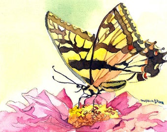 ACEO art print, Limited Edition 2/25, Butterfly on zinnia, Gift idea for nature lovers, Art print of an original ACEO watercolor