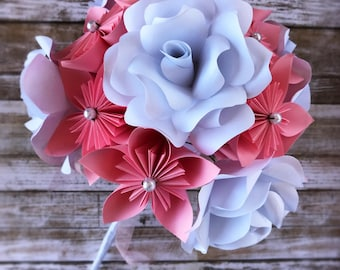 Paper Flower Bridal Bouquet - Pink Paper Flower Wedding Bouquet - Alternative Wedding Bouquet - Paper Flower Bouquet - Artificial Bouquet