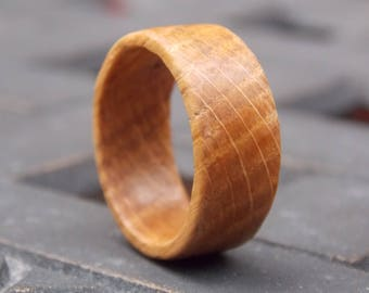 Genuine Kentucky Whiskey Barrel Staves Burbon Oak wood ring custom size and width ring Reclaimed wood ring Recycled wood ring  Unique ring