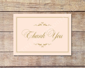 Blush and Gold Thank You Card, Wedding Thank You Card, Glamorous Wedding, Printable Thank You Note, Instant Download