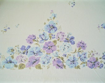 Vintage Cotton Sheet with Blue and Purple Floral Print Stevens Double Full Flat Sheet
