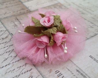 Tule Rose Bouquet Hair Clip Pin
