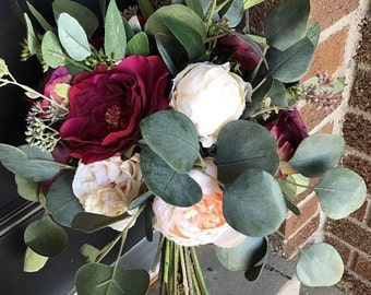 Plum and Ruby Eucalyptus- Silk Flower Bridal Bouquet