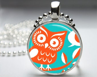 Turquiose Owl Round Pendant Necklace with Silver Ball or Snake Chain Necklace or Key Ring