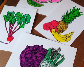 Fruit and Vegetable Prints, Screenprint, Food, A4 Screenprint, Home Decor, Fun Print, Kitchen Decor, Silkscreen, Colourful Print, Pop Art