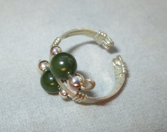 Jade and Silver Wire Wrapped Ring