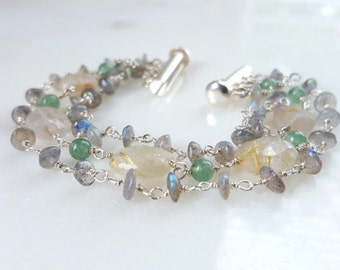 Multi Strand Gemstone Statement Cuff Bracelet, Labradorite, Rutilated Quartz Aventurine Sterling Silver Stacking Bracelet Fine Jewelry Life