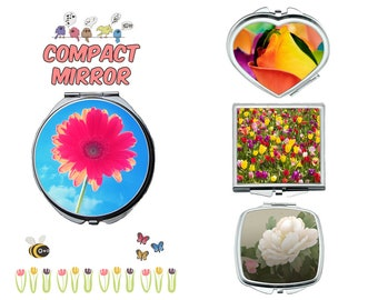Beautiful flower compact mirror, makeup mirror, compact make up mirror, small mirror, double sided compact makeup mirror, purse mirror