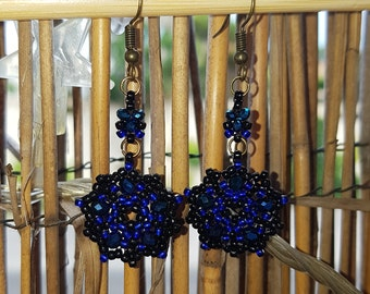 chic black and blue dangle earrings